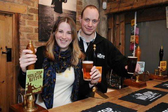 Kate and Alex from Wold Top Brewery toasts SIBA win